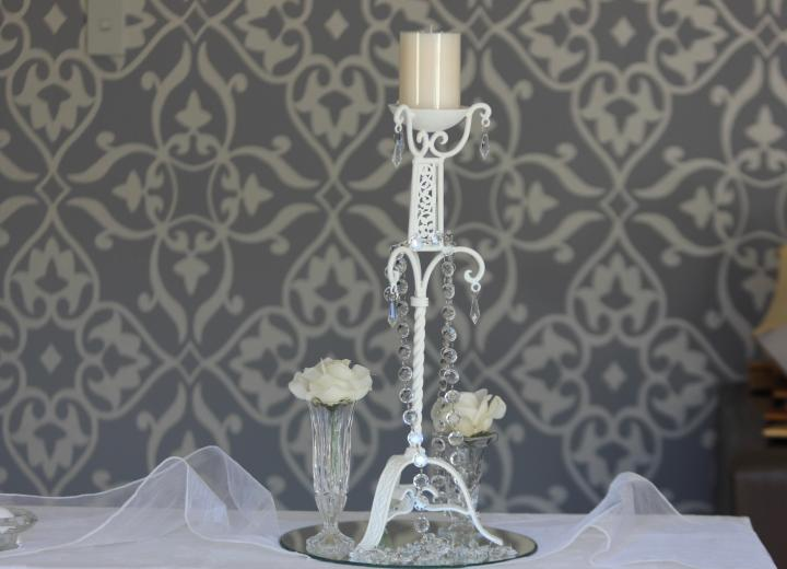 French White Candlestick - 50cmH